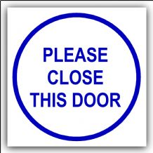 1 x Please Close This Door-87mm,Blue on White-Health and Safety Security Door Warning Sticker Sign-87mm,Blue on White-Health and Safety Security Door Warning
